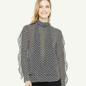 NWT Ann Taylor Swan RuffleSleeve TieNeck Blouse XL